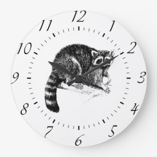 Raccoon Illustration Clock
