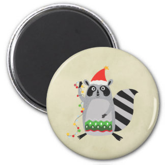 Raccoon In Santa Hat Tangled Up In Holiday Lights 2 Inch Round Magnet