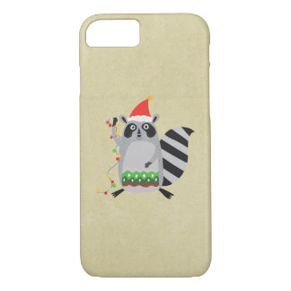 Raccoon In Santa Hat Tangled Up In Xmas Lights iPhone 7 Case