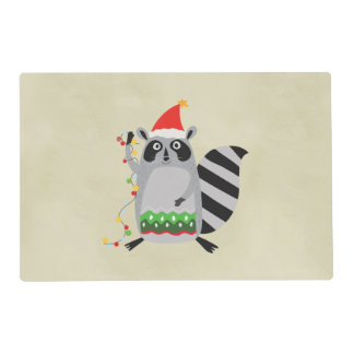 Raccoon In Santa Hat Tangled Up In Xmas Lights Placemat
