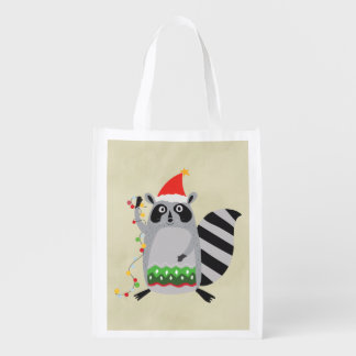 Raccoon In Santa Hat Tangled Up In Xmas Lights Reusable Grocery Bags