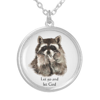 Raccoon Kissing Inspiring Quote Let Go Let God Round Pendant Necklace