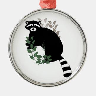 Raccoon Leaves Metal Ornament