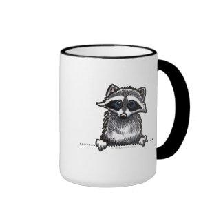 Raccoon Line Art Ringer Mug