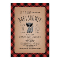 Raccoon Lumberjack Plaid Baby Shower Invitation