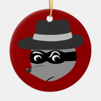 Raccoon Mobster Christmas Ornament