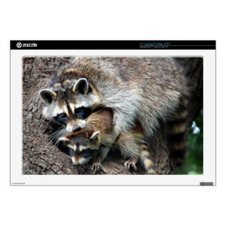"""Raccoon Mother and Kit 17"""" Laptop Skin"""