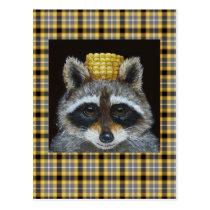 Raccoon on plaid postcard