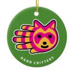 Hand shaped Raccoon ornament