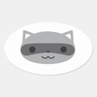 Raccoon Oval Sticker