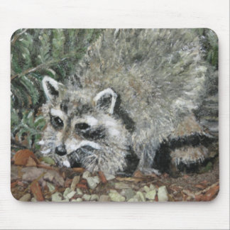 Raccoon Painting Mouse Pad