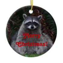 Raccoon Photo Christmas Ceramic Ornament