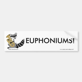 Raccoon Playing the Euphonium Bumper Sticker