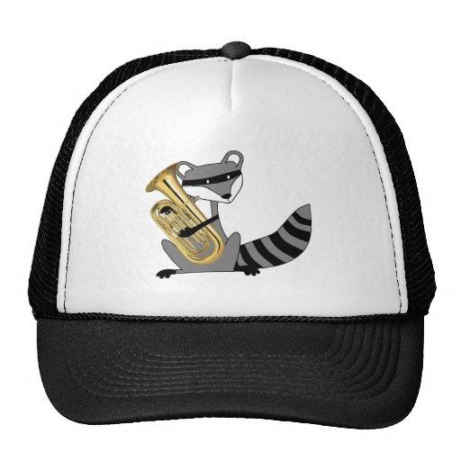 Raccoon Playing the Euphonium Trucker Hats