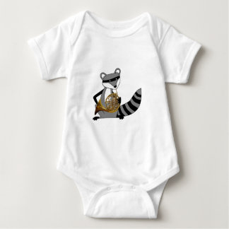 Raccoon Playing the French Horn Baby Bodysuit