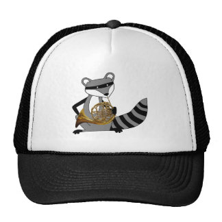 Raccoon Playing the French Horn Trucker Hat