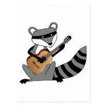 Raccoon Playing the Guitar Postcard