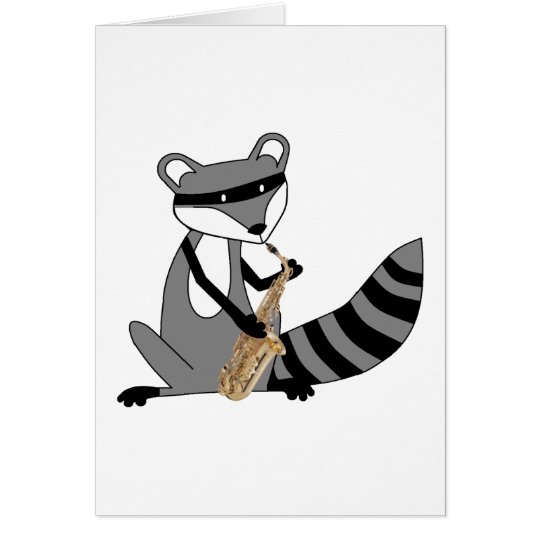 Raccoon Playing the Saxophone Card