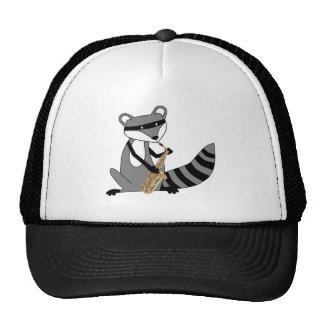 Raccoon Playing the Saxophone Trucker Hat
