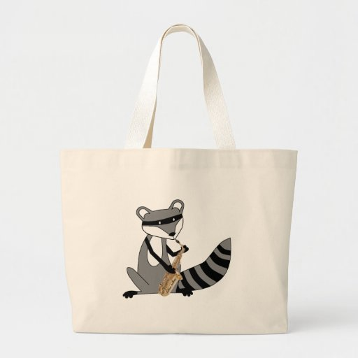 Raccoon Playing the Saxophone Tote Bags
