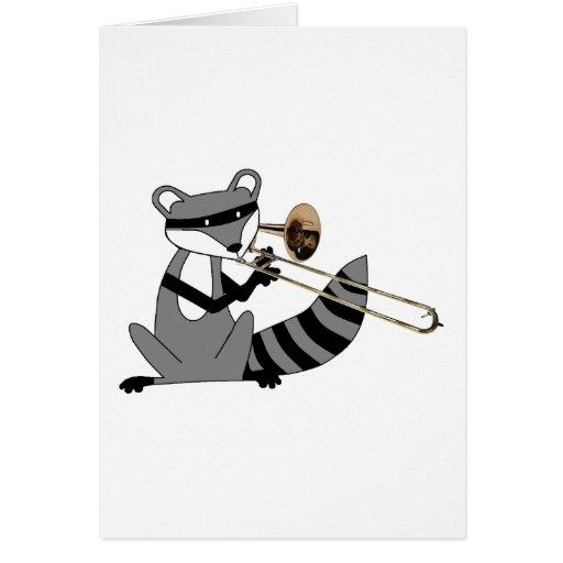 Raccoon Playing the Trombone Card