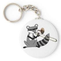 Raccoon Playing the Trombone Keychain