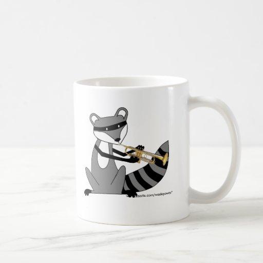 Raccoon Playing the Trumpet Coffee Mug