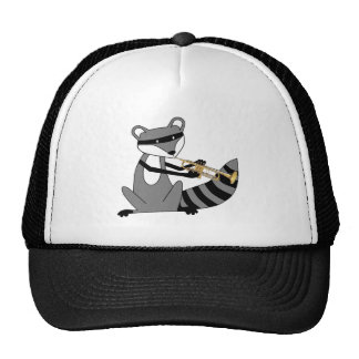Raccoon Playing the Trumpet Trucker Hat