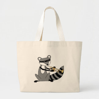 Raccoon Playing the Trumpet Large Tote Bag