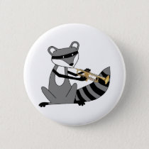 Raccoon Playing the Trumpet Pinback Button