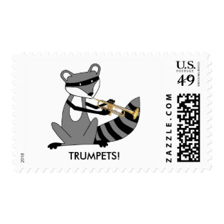 Raccoon Playing the Trumpet Postage