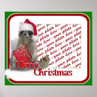 Raccoon Santa Poster