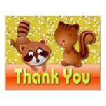 RACCOON & SQUIRREL THANK YOU NOTE CARD CUSTOM ANNOUNCEMENT
