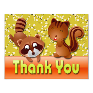 RACCOON & SQUIRREL THANK YOU NOTE CARD