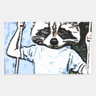 raccoon swing rectangular sticker