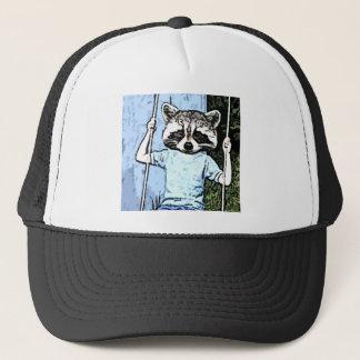 raccoon swing trucker hat