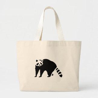 Raccoon Vintage Wood Engraving Large Tote Bag