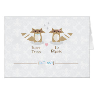 Raccoon Wedding Thank You Note Card