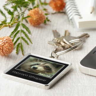 Raccoon whisperer monogram Silver-Colored square keychain