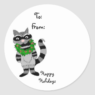 Raccoon with Christmas Wreath Classic Round Sticker
