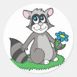 Raccoon with Flower Sticker