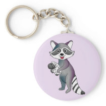 Raccoon with lambs keychain