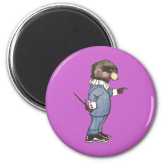 Raccoon with Pointer 2 Inch Round Magnet