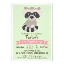 Raccoon, Woodland Animal Kid's Birthday Party Invitation