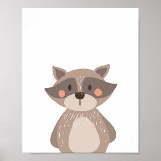 Raccoon Woodland Animal Nursery Wall Art Print