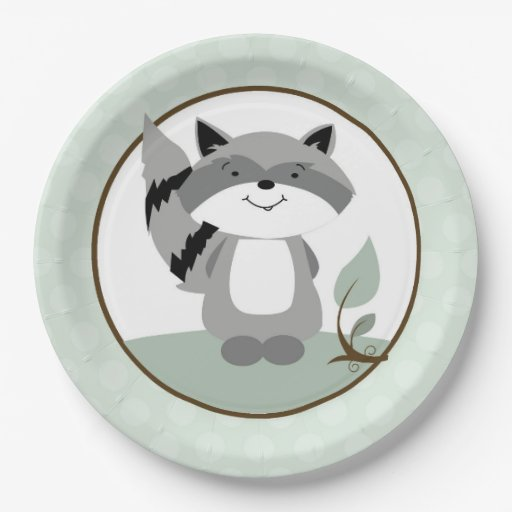 Raccoon Woodland Nature Paper Plate | Green