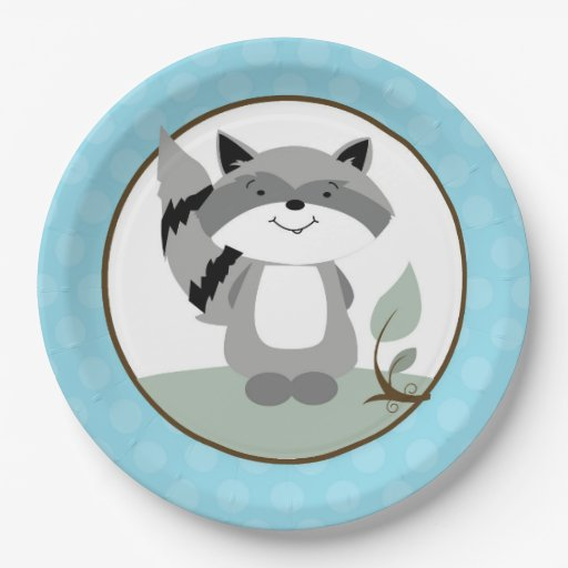 Raccoon Woodland Nature Paper Plate | Teal