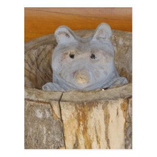 raccoon woodwork postcard