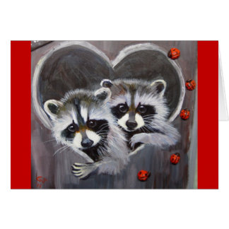 Raccoons and ladybugs card