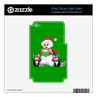 Raccoons and Snowman Christmas Carol iPod Touch 4G Decals